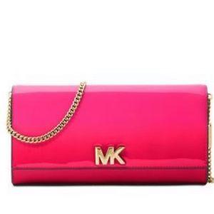 NWT Michael Kors Ultra Pink LG EW Clutch Leather